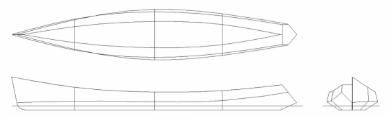 Lines plan of Odyssey 165 rowboat.