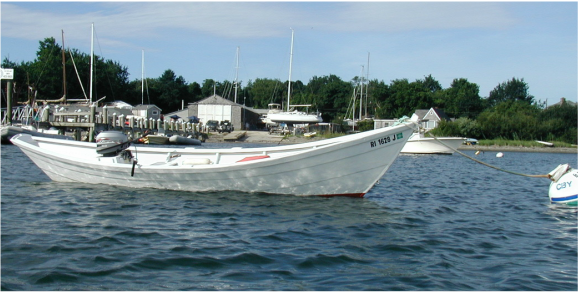 Picture of traditional dory with a motor installed.