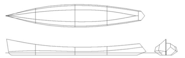 Lines plan of Odyssey 18 rowboat.